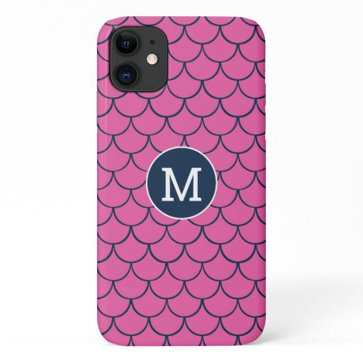 Hot Pink Navy Fish Scales Monogram pattern iPhone 11 Case