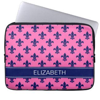 Hot Pink Navy Fleur de Lis Navy Name Monogram Laptop Sleeve
