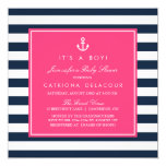 Hot Pink & Navy Nautical Baby Shower Invitation