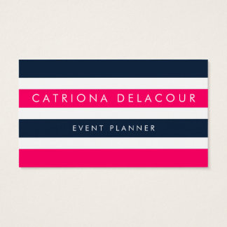 Hot Pink & Navy Stripes Modern Business Cards