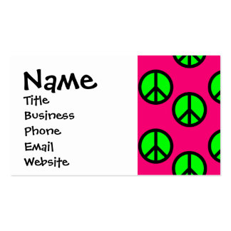 Hot Pink Neon Green Peace Sign Hippie Pattern Business Card Template