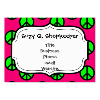 Hot Pink Neon Green Peace Sign Hippie Pattern Business Card