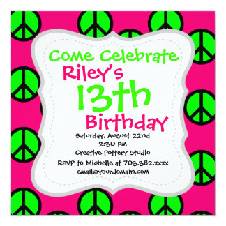 Hot Pink Neon Green Peace Sign Hippie Pattern Card