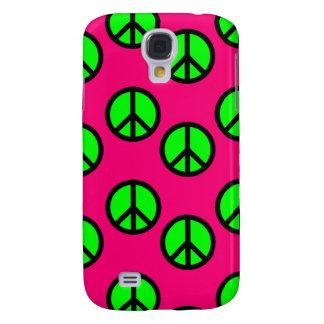 Hot Pink Neon Green Peace Sign Hippie Pattern Samsung Galaxy S4 Case