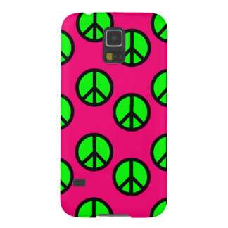 Hot Pink Neon Green Peace Sign Hippie Pattern Galaxy S5 Case