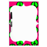 Hot Pink Neon Green Peace Sign Hippie Pattern Dry Erase Whiteboards