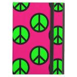 Hot Pink Neon Green Peace Sign Hippie Pattern iPad Folio Case