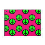 Hot Pink Neon Green Peace Sign Hippie Pattern Cover For iPad Mini
