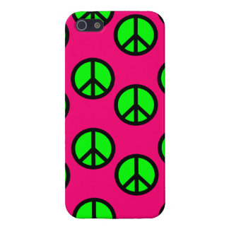Hot Pink Neon Green Peace Sign Hippie Pattern iPhone SE/5/5s Case