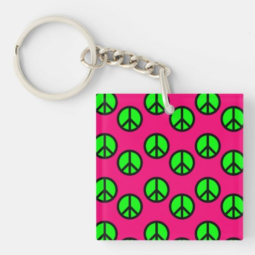 Hot Pink Neon Green Peace Sign Hippie Pattern Acrylic Keychains