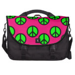Hot Pink Neon Green Peace Sign Hippie Pattern Bag For Laptop