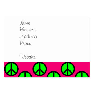 Hot Pink Neon Green Peace Sign Hippie Pattern Large Business Card