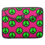 Hot Pink Neon Green Peace Sign Hippie Pattern MacBook Pro Sleeve