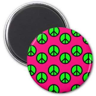 Hot Pink Neon Green Peace Sign Hippie Pattern Magnet
