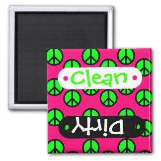 Hot Pink Neon Green Peace Sign Hippie Pattern Refrigerator Magnets
