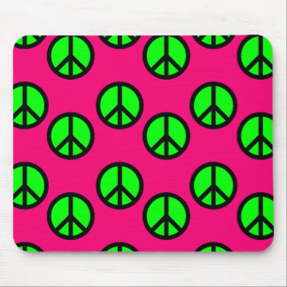 Hot Pink Neon Green Peace Sign Hippie Pattern Mouse Pad