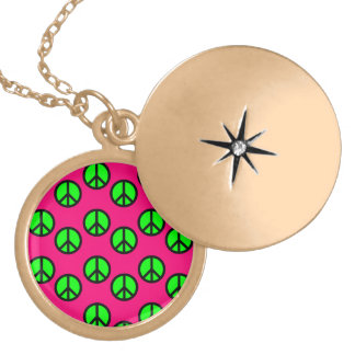 Hot Pink Neon Green Peace Sign Hippie Pattern Pendant