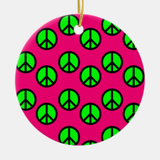 Hot Pink Neon Green Peace Sign Hippie Pattern Double-Sided Ceramic Round Christmas Ornament