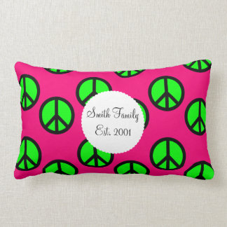 Hot Pink Neon Green Peace Sign Hippie Pattern Throw Pillow