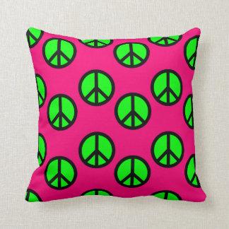 Hot Pink Neon Green Peace Sign Hippie Pattern Throw Pillow