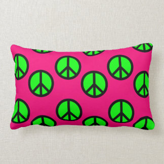 Hot Pink Neon Green Peace Sign Hippie Pattern Pillow