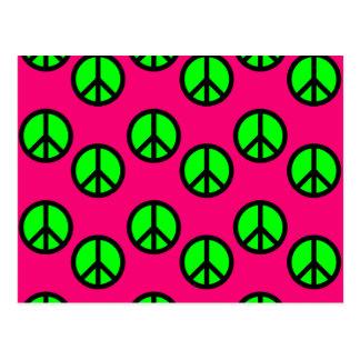 Hot Pink Neon Green Peace Sign Hippie Pattern Postcard