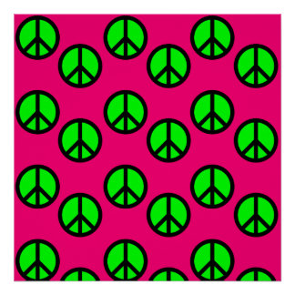 Hot Pink Neon Green Peace Sign Hippie Pattern Posters