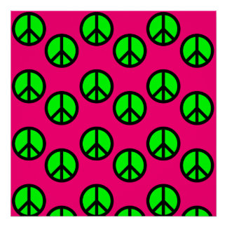Hot Pink Neon Green Peace Sign Hippie Pattern Poster