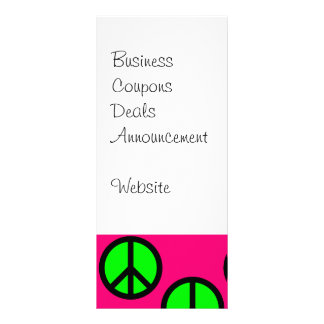 Hot Pink Neon Green Peace Sign Hippie Pattern Rack Card