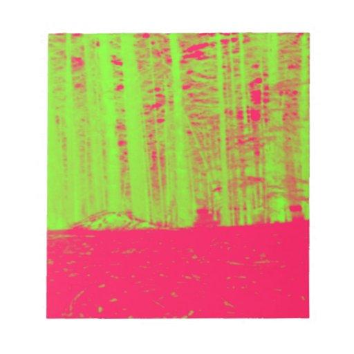 Hot Pink Neon Green Post Modern Art Print Memo Notepad