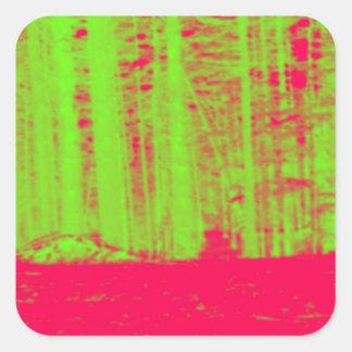 Hot Pink Neon Green Post Modern Art Print Sticker