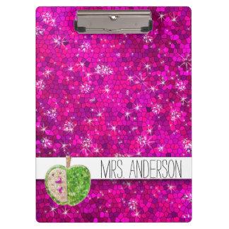 Hot Pink Neon Green Teachers Apple Classroom Name Clipboard