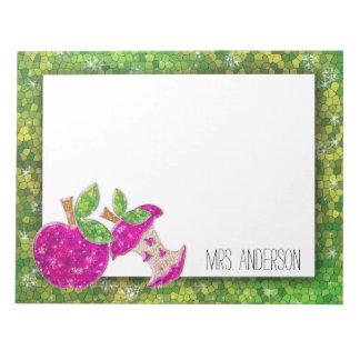 Hot Pink Neon Green Teachers Apple Classroom Name Notepad