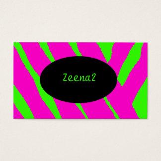 Hot Pink Neon Green Zebra Fashion Business Cards