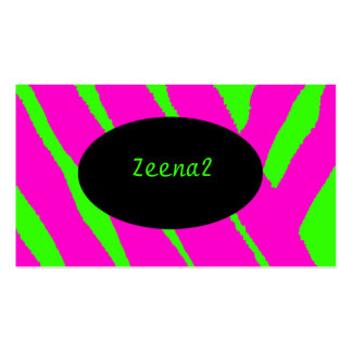 Hot Pink Neon Green Zebra Fashion Business Cards