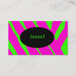 Neon fashion business cards zazzle hot pink neon green zebra fashion business cards reheart Gallery