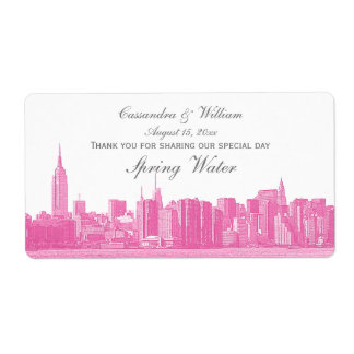 Hot Pink NYC Wide Skyline Etched Water Bottle Label