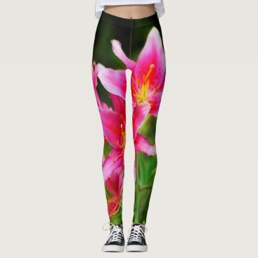 Beach Themed Hot Pink Olympic Torch Lilies Leggings