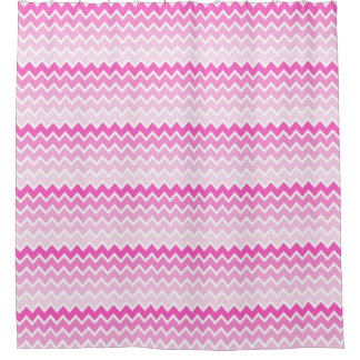 Hot Pink Ombre Chevron Zigzag Pattern Shower Curtain