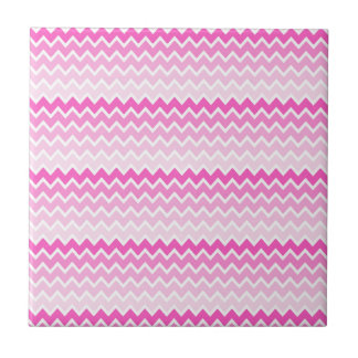 Hot Pink Ombre Chevron Zigzag Pattern Tile