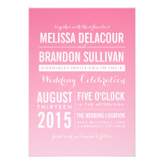 Hot Pink Ombre/ Gradient Beach Wedding Invitations