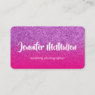Hot Pink Ombre Purple Glitter Photo Business Card