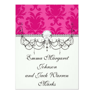 hot pink on pink chic damask pattern 6.5x8.75 paper invitation card