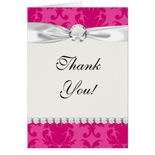 hot pink on pink chic damask pattern card