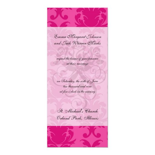 hot pink on pink chic damask pattern 4x9.25 paper invitation card