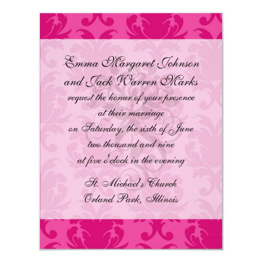 hot pink on pink chic damask pattern 4.25x5.5 paper invitation card
