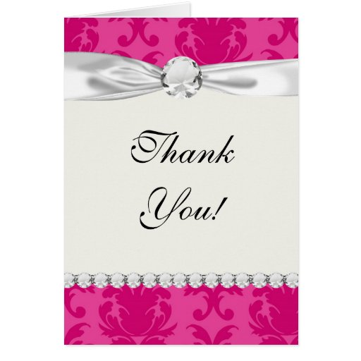hot pink on pink chic damask pattern stationery note card