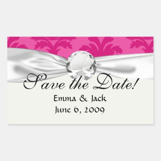 hot pink on pink chic damask pattern rectangular sticker