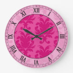 hot pink on pink chic damask roman numerals wall clock