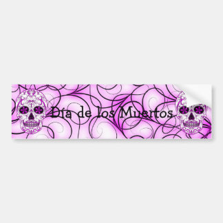 Hot Pink on Pink - Day of the Dead Sugar Skull Car Bumper Sticker